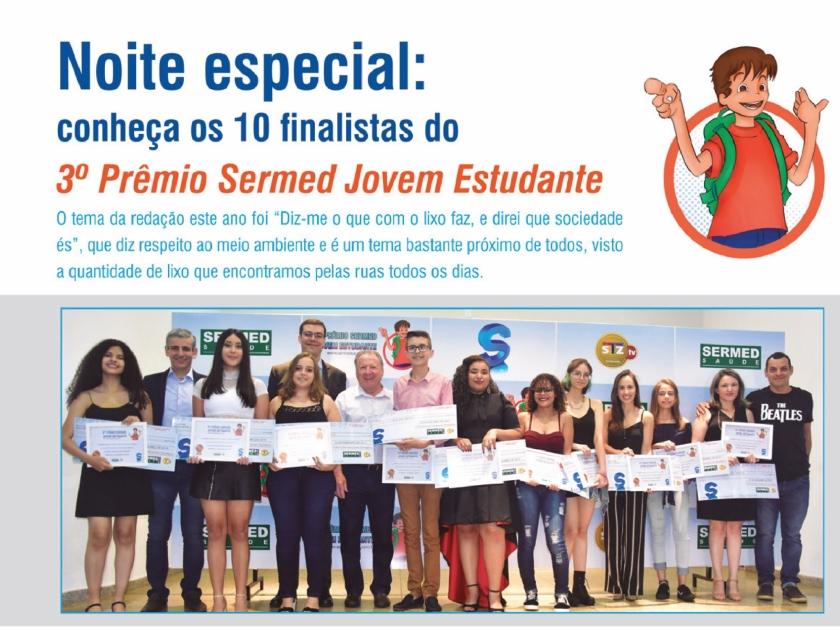 Noite especial: conheça os 10 finalistas do 3° Prêmio Sermed Jovem Estudante